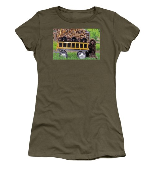 Newfoundland With Puppies Women's T-Shirt