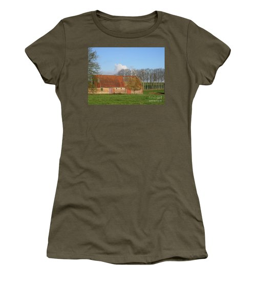 Women's T-Shirt (Junior Cut) featuring the photograph Normandy Storm Damaged Barn by HEVi FineArt