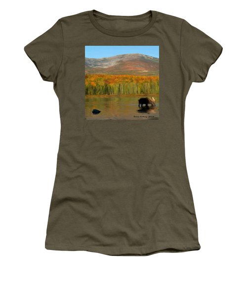 Women's T-Shirt (Junior Cut) featuring the painting Northwest Moose by Bruce Nutting