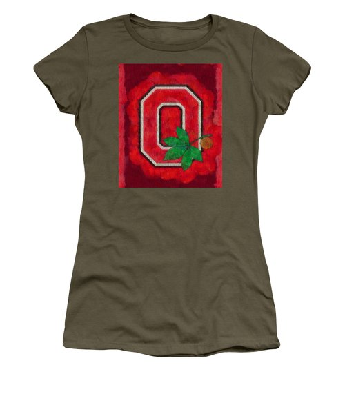 Women's T-Shirt featuring the painting Ohio State Buckeyes On Canvas by Dan Sproul