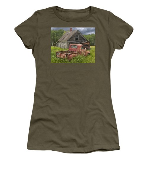Old Abandoned Homestead And Truck Women's T-Shirt (Junior Cut) by Randall Nyhof