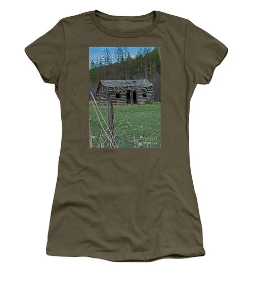 Women's T-Shirt (Junior Cut) featuring the photograph Old Abandoned Homestead Cabin Art Prints by Valerie Garner