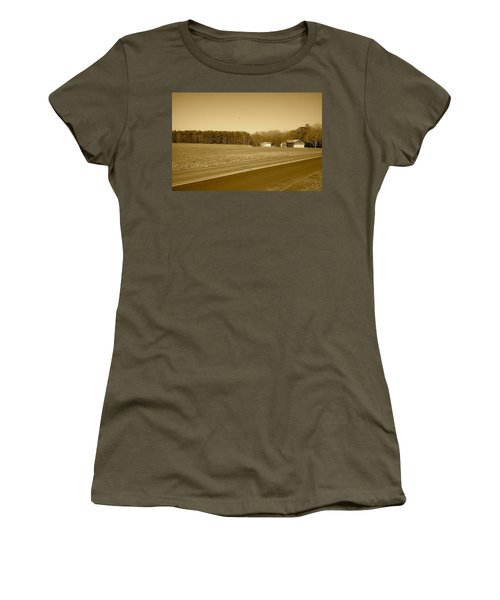 Old Barn And Farm Field In Sepia Women's T-Shirt (Junior Cut) by Amazing Photographs AKA Christian Wilson