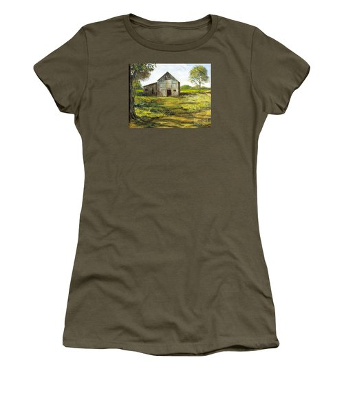 Women's T-Shirt (Junior Cut) featuring the painting Old Barn by Lee Piper