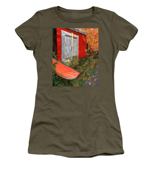 Women's T-Shirt (Athletic Fit) featuring the painting Old Canoe by Lynne Reichhart