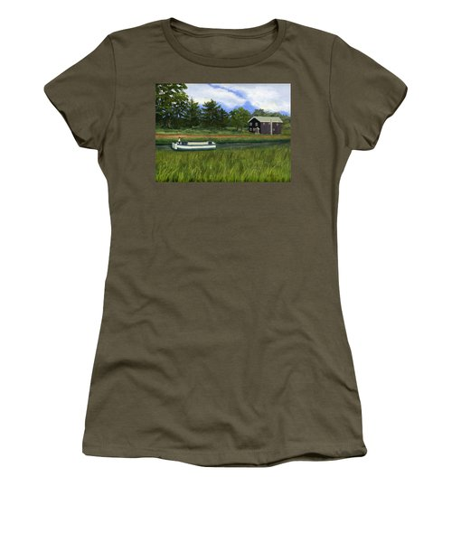Women's T-Shirt (Athletic Fit) featuring the painting Old Erie by Lynne Reichhart