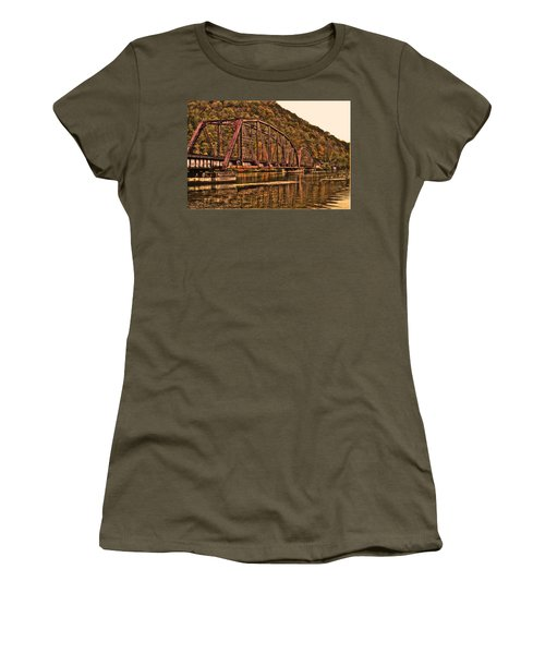 Women's T-Shirt (Junior Cut) featuring the photograph Old Railroad Bridge With Sepia Tones by Jonny D