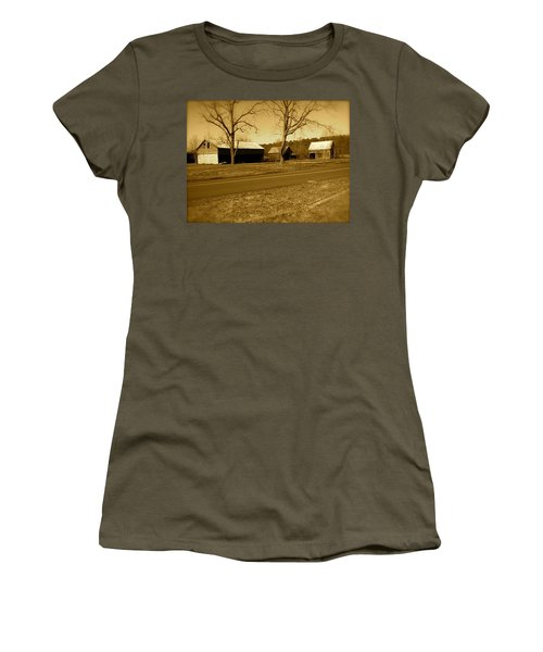 Old Red Barn In Sepia Women's T-Shirt (Junior Cut) by Amazing Photographs AKA Christian Wilson