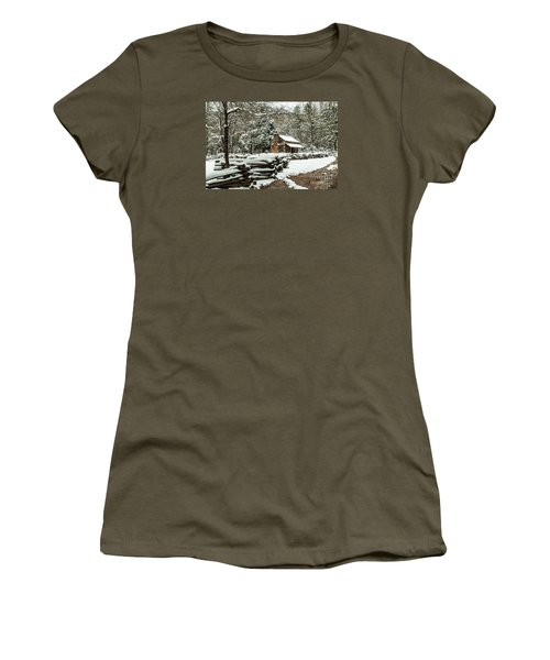 Women's T-Shirt (Junior Cut) featuring the photograph Oliver's Log Cabin Nestled In Snow by Debbie Green