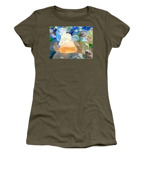 Orange Blue Seaglass Art Prints Decorative Sea Glass Women's T-Shirt