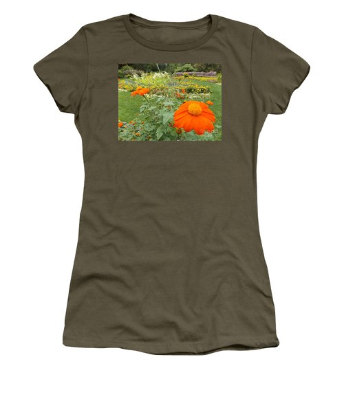 Orange Flower Women's T-Shirt (Athletic Fit)