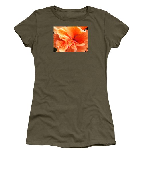 Orange Hibiscus Women's T-Shirt (Athletic Fit)