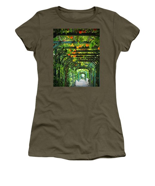 Oranges And Lemons On A Green Trellis Women's T-Shirt (Athletic Fit)