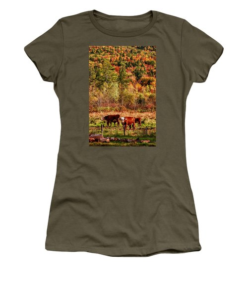 Women's T-Shirt (Junior Cut) featuring the photograph Cow Complaining About Much by Jeff Folger