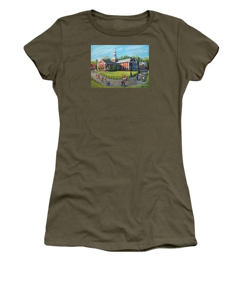 Women's T-Shirt (Junior Cut) featuring the painting Our Time At Bentley University by Rita Brown