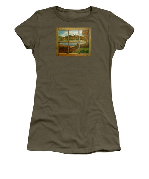 Out My Window-autumn Day Women's T-Shirt (Junior Cut) by Sheri Keith
