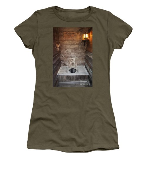 Women's T-Shirt featuring the photograph Outhouse Interior by Bryan Mullennix