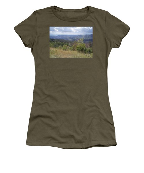 Women's T-Shirt (Junior Cut) featuring the photograph Overlook Into The Mist by Fortunate Findings Shirley Dickerson