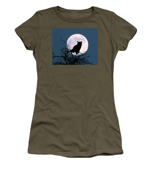 Owl And Blue Moon Women's T-Shirt