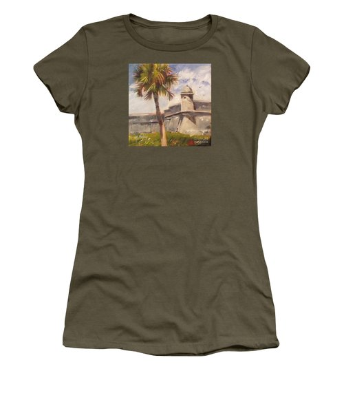 Palm At St. Augustine Castillo Fort Women's T-Shirt (Junior Cut) by Mary Hubley