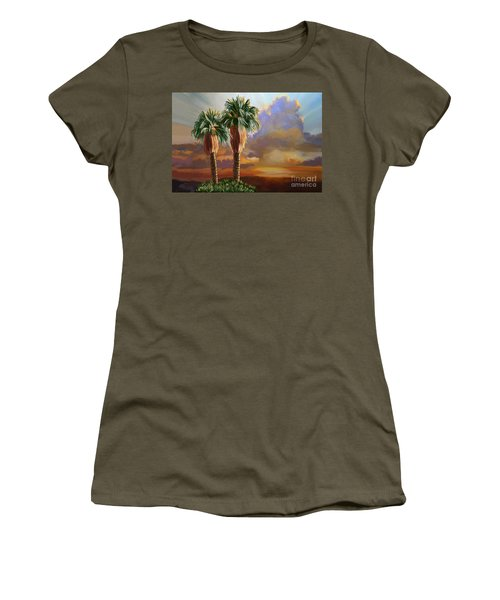 Women's T-Shirt (Junior Cut) featuring the painting Palm Tree Cabo Sunset by Tim Gilliland