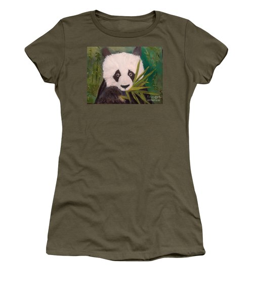 Women's T-Shirt (Junior Cut) featuring the painting Panda by Jenny Lee