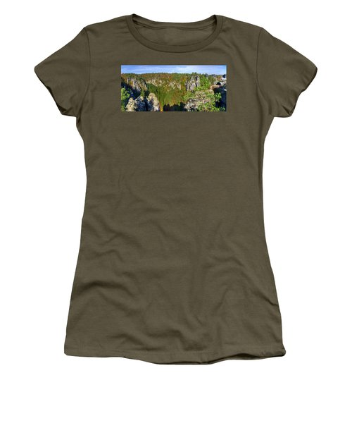 Panoramic View Of The Elbe Sandstone Mountains Women's T-Shirt