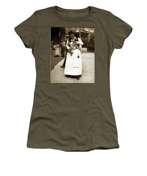 Women's T-Shirt (Junior Cut) featuring the photograph Parisian Woman Lady Paris France 1900 Historical Photo by California Views Mr Pat Hathaway Archives