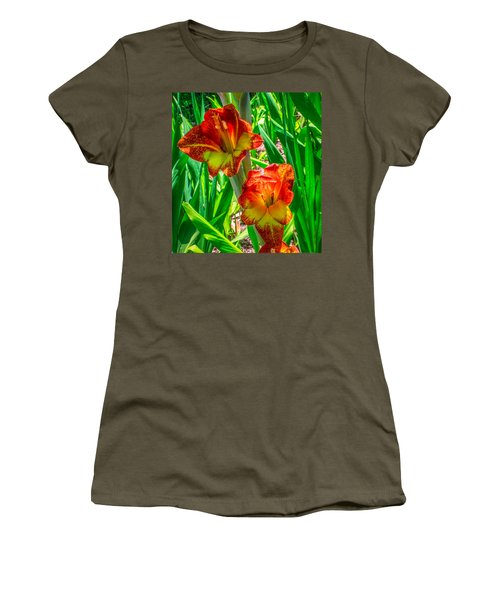 Women's T-Shirt (Junior Cut) featuring the photograph Parrot Gladiolus by Rob Sellers