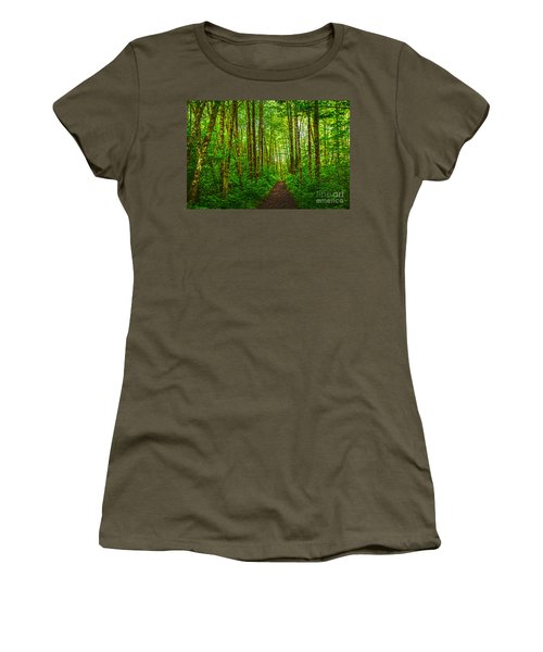 Path In Green Women's T-Shirt (Athletic Fit)