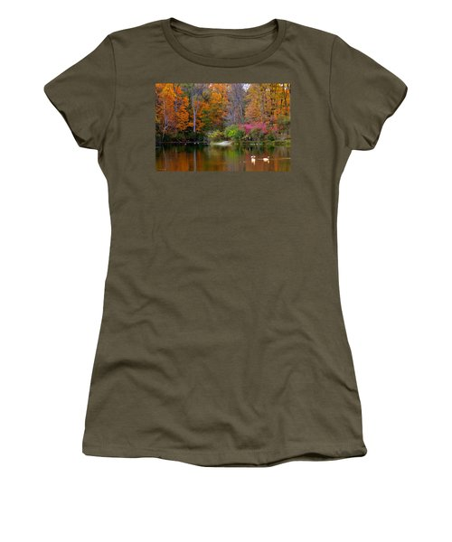 Women's T-Shirt featuring the photograph Peaceful Lake by Andrea Platt