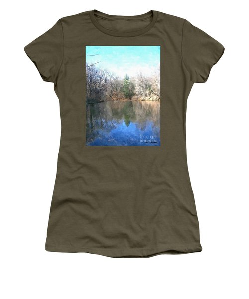 Women's T-Shirt (Junior Cut) featuring the painting Peaceful Retreat 2 by Sara  Raber