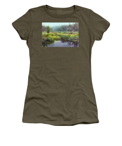 Peaceful Waters Impressionistic Landscape  Women's T-Shirt