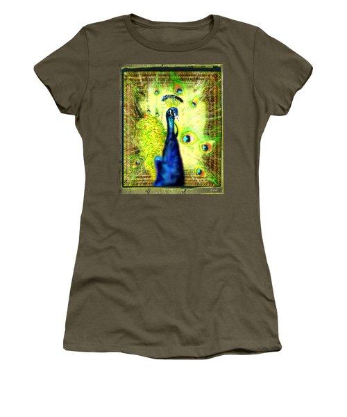 Women's T-Shirt (Junior Cut) featuring the drawing Peacock by Daniel Janda