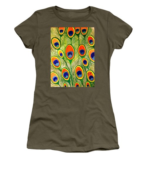 Peacock Feather Frenzy Women's T-Shirt (Junior Cut) by Renee Michelle Wenker
