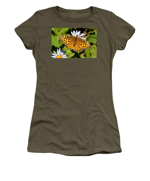 Women's T-Shirt (Junior Cut) featuring the photograph Pearl Border Fritillary Butterfly On An Aster Bloom by Jeff Goulden