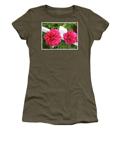 Women's T-Shirt (Junior Cut) featuring the photograph Peonies Resting On White Fence by Barbara Griffin