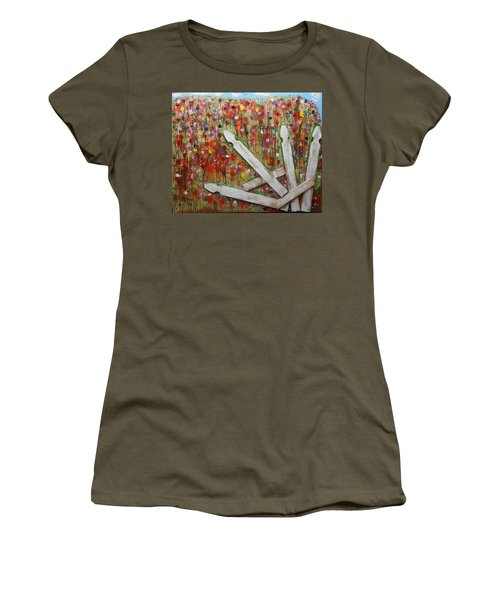 Picket Fence Flower Garden Women's T-Shirt (Athletic Fit)