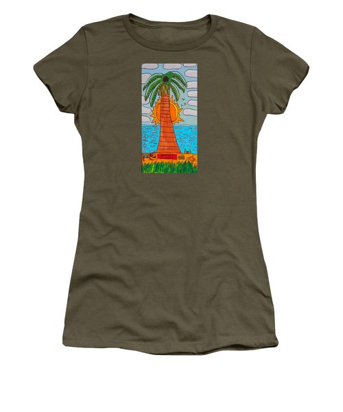 Women's T-Shirt (Junior Cut) featuring the painting Pink Clouds Fiesta by Artists With Autism Inc