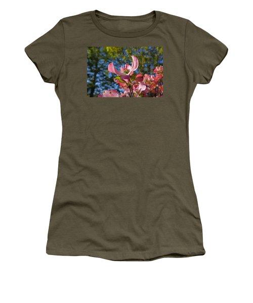 Pink Dogwood Tree Flowers Art Prints Women's T-Shirt
