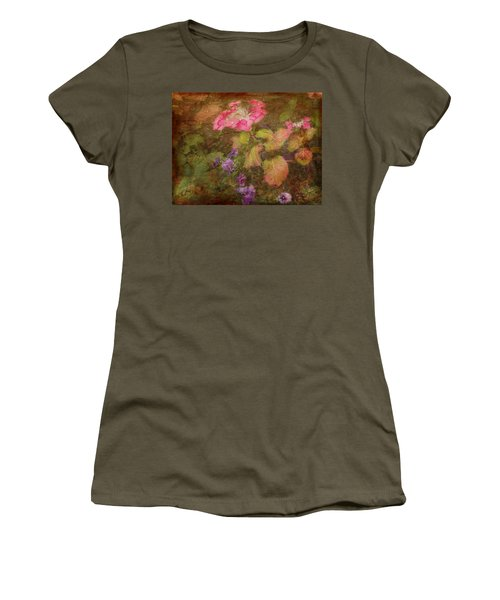Pink Hydrangea And Purple Pansies Women's T-Shirt