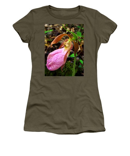 Pink Ladyslipper Orchid Women's T-Shirt (Athletic Fit)