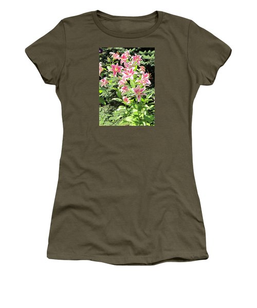 Pink Stargazer Lilies-greeting Card Women's T-Shirt (Athletic Fit)