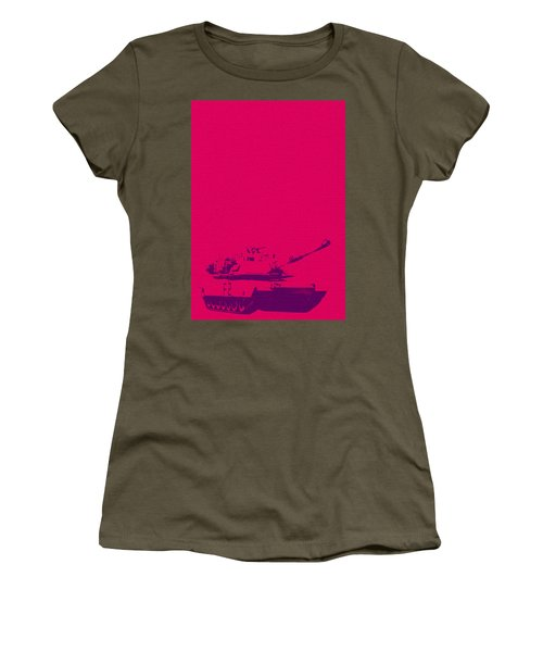 Women's T-Shirt featuring the mixed media Pink Tank by Michelle Dallocchio
