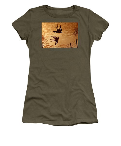 Women's T-Shirt (Athletic Fit) featuring the painting Playful Swallows Original Coffee Painting by Georgeta  Blanaru