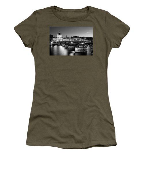 Women's T-Shirt featuring the photograph Pont Des Arts And Institut De France / Paris by Barry O Carroll