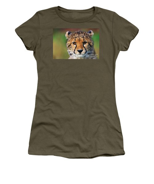 Women's T-Shirt (Junior Cut) featuring the photograph Portrait Of A Cheetah Cub by Nick  Biemans