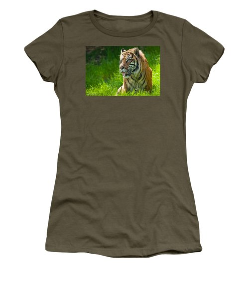 Women's T-Shirt (Junior Cut) featuring the photograph Portrait Of A Sumatran Tiger by Jeff Goulden