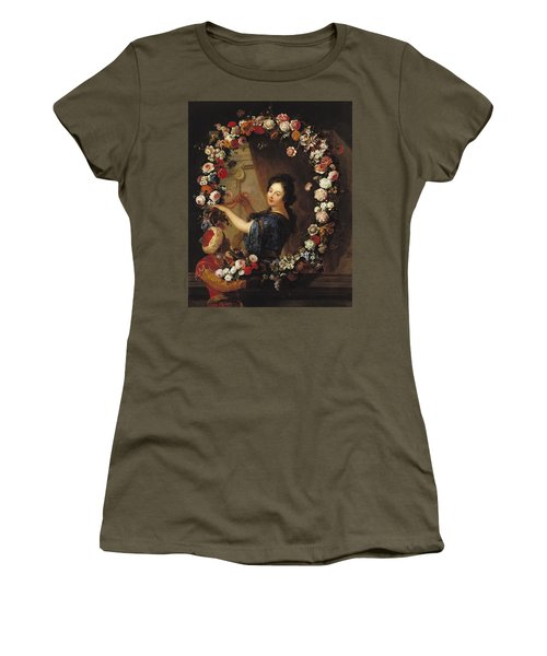Portrait Of A Woman Surrounded By Flowers, Presumed To Be Julie Dangennes Oil On Canvas Women's T-Shirt