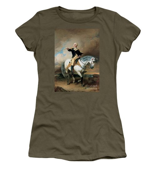 Portrait Of George Washington Taking The Salute At Trenton Women's T-Shirt (Junior Cut) by John Faed